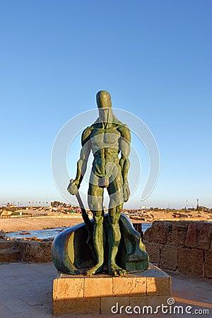 Free Sculpture Of Man At Caesarea, Israel Stock Photography - 56072582