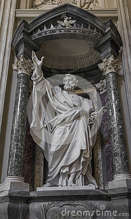Free Sculpture Of The Apostle San Pietro St. Peter In The Basilica Of St. John Lateran In Rome. Stock Photos - 96501623