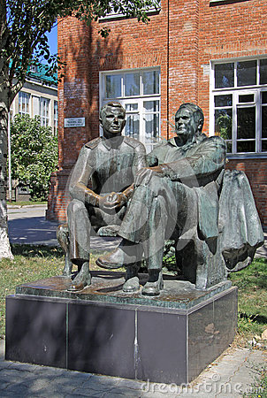 Free Sculpture Of The First Cosmonaut Yuri Gagarin And The Famous Rocket Engineer Sergey Korolev, Taganrog, Russia Stock Image - 59844521
