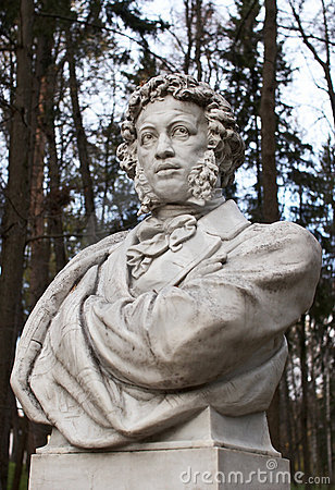 Sculpture of Pushkin in park Arkhangelskoe