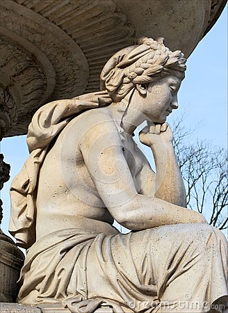 Sculpture of a sad girl