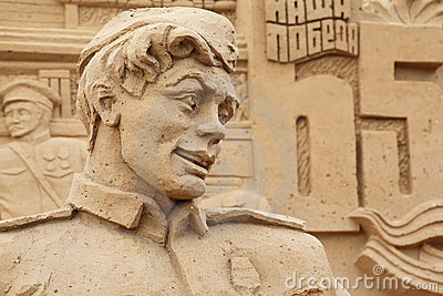 Sculpture of soldier on All-Russian Exhibition Editorial Stock Photo