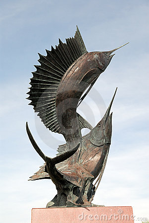 Sculpture of two sword fishes