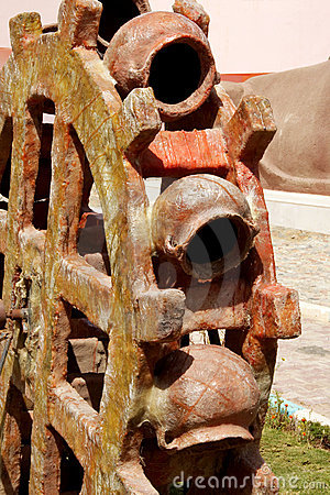 Sculpture of a water wheel