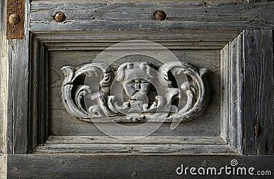 Sculptured church gate fragment