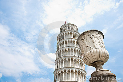 Sculptured urn and Leaning Tower of Pisa