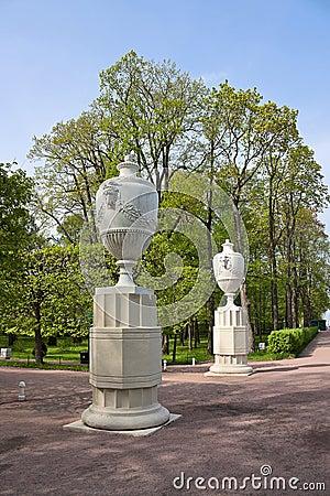 Sculptured vases in Lower Park