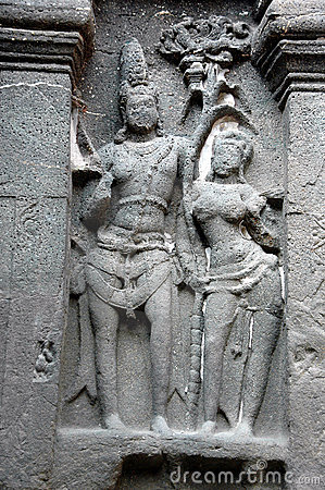Sculptures at Ellora Caves