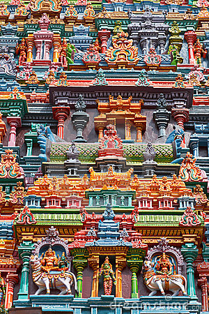 Sculptures on Hindu temple