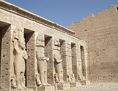 Sculptures at Medinet Habu, Luxor, Egypt