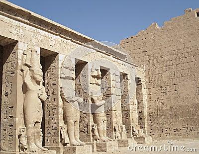 Sculptures at Medinet Habu, Luxor, Egypt
