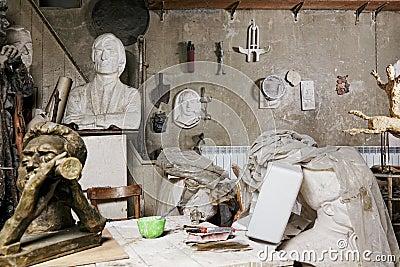 Sculptures in workshop