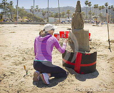 Scupture of Sand, La Jolla Beach, California Editorial Photo