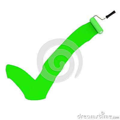 Señal verde de la pintura