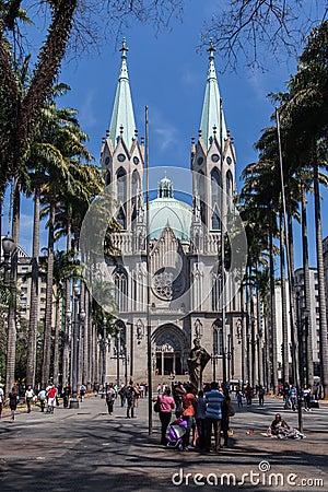 Se Cathedral Sao Paulo Brazil Editorial Stock Image