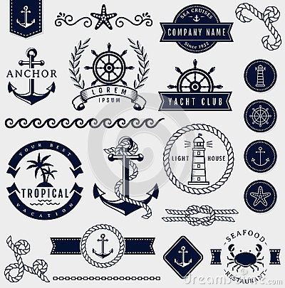 Free Sea And Nautical Design Elements. Vector Set. Stock Photo - 55747620