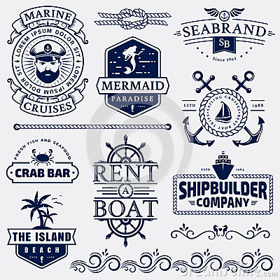 Free Sea And Nautical Logos And Design Elements. Stock Photo - 94379170