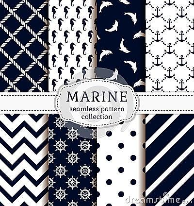 Free Sea And Nautical Patterns Set. Stock Image - 54507371