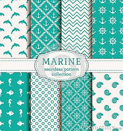 Free Sea And Nautical Seamless Patterns Set. Royalty Free Stock Photo - 55051635