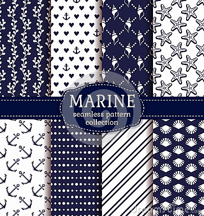 Free Sea And Nautical Seamless Patterns Set. Stock Images - 71848064