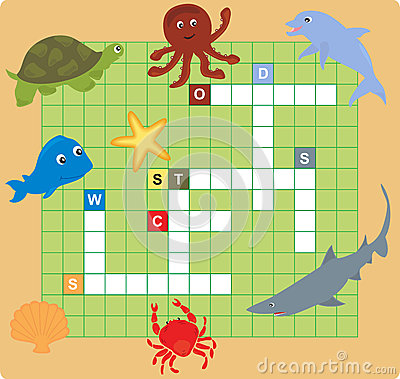 Free Sea Animal Puzzle (crossword) Royalty Free Stock Images - 24842799