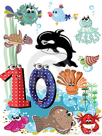 Free Sea Animals And Numbers Series-10 Royalty Free Stock Photos - 20194678