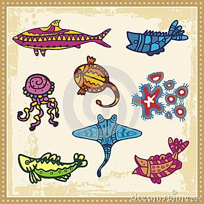 Sea Animals in Australian Aboriginal Style