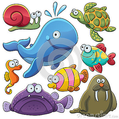 Free Sea Animals Collection Royalty Free Stock Photography - 25257637