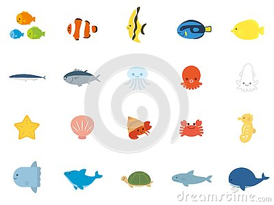 Sea animals Vector Illustration