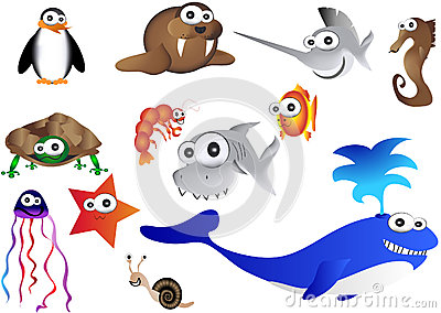 Sea animals, illustration of ocean life