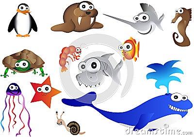 Sea animals, illustration of ocean life