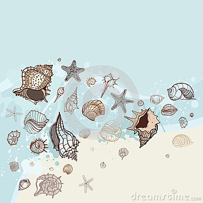 Sea background. Hand drawn  illustration