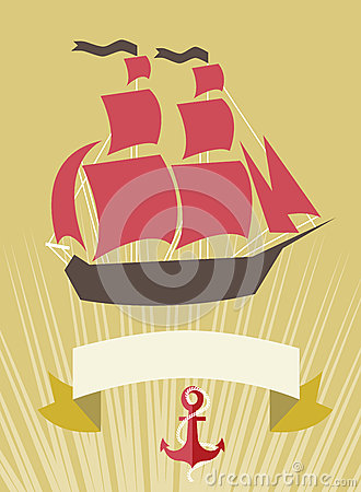 Sea banner with Sailboat in cartoon style