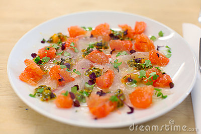 Sea bass and pink grapefruit ceviche