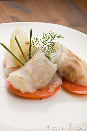 Sea Bass rolls with tomatoes