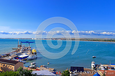 Sea bay with pier yachts landscape summer blue sky Stock Photo
