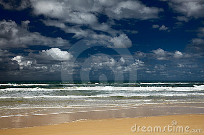 Sea beach and nice clouds in a sky
