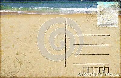 Sea beach on postcard