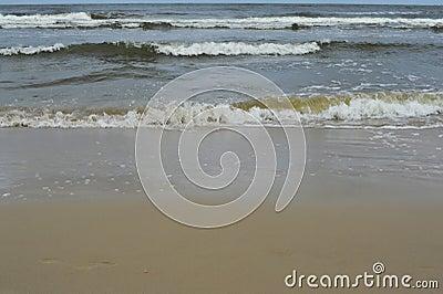 Sea and beach on rainy day