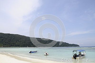 Sea and Boats on sand beach in Malaysia
