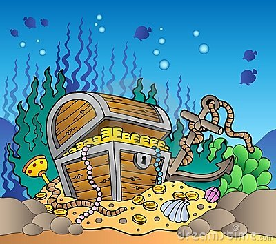 Sea bottom with old treasure chest
