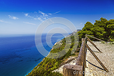 Sea cliff with fence, viewpoint