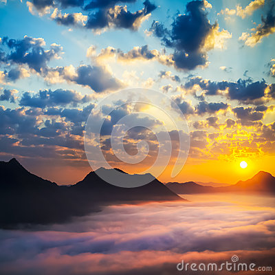 Sea of clouds on sunrise