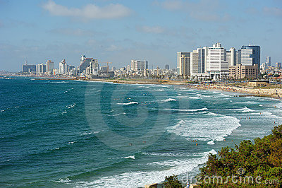 Sea coast and the view of Tel Aviv