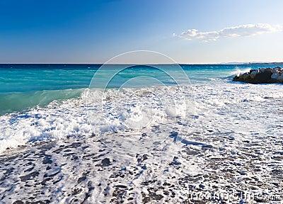 Sea coast with waves