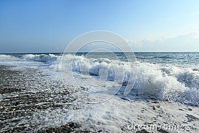 Sea coast with waves, wide angle