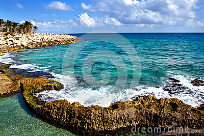 The sea coast in Xcaret park, Mexico