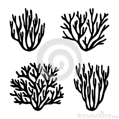 Free Sea Corals And Seaweed Black Silhouette Vector Isolated Royalty Free Stock Photography - 102037777