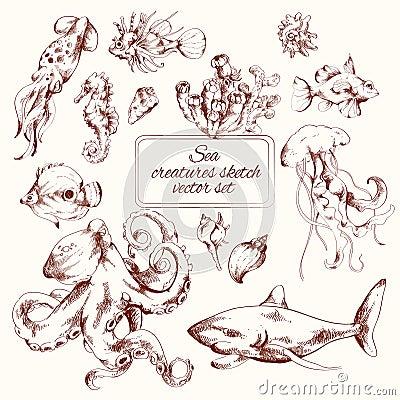 Free Sea Creatures Sketch Stock Photo - 45142560