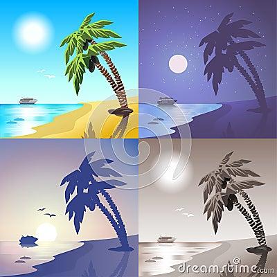 Free Sea Cruise Ship And Summer Tropic Palm Beach Island Scene Set Royalty Free Stock Photography - 59049197